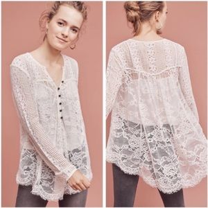 Anthropologie Floreat Scalloped Lace Henley Top